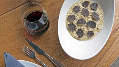 "Recipe: <a href=""http://kitchen.nine.com.au/2016/07/19/10/58/stefano-manfredis-risotto-with-black-truffles-butter-and-parmesan"" target=""_top"">Stefano Manfredi's risotto with black truffles, butter and Parmesan</a>"