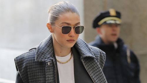 Supermodel Gigi Hadid arrives at a Manhattan courthouse for jury selection in the Harvey Weinstein trial.