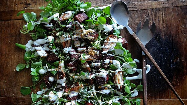 Beetroot and roast onion salad with yoghurt dressing