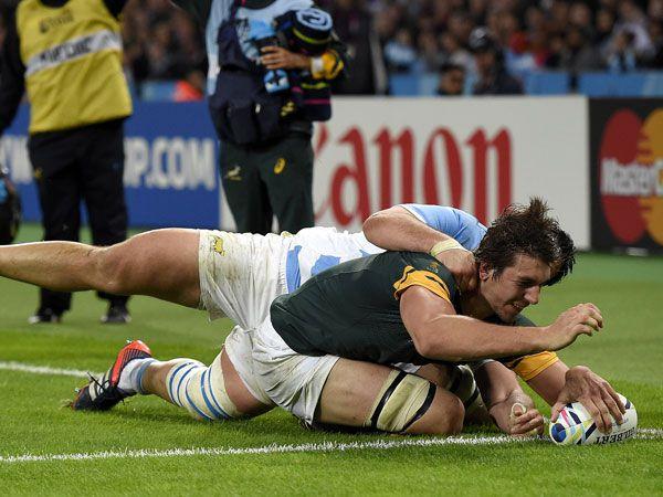 South Africa's lock Eben Etzebeth scores against Argentina. (AFP)