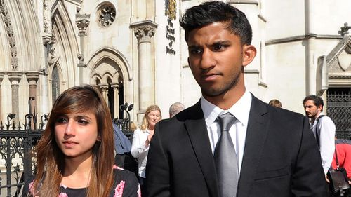 Jacintha Saldanha's son Junal and daughter Lisha leave the Royal courts of Justice to deliver a statement. (AAP)