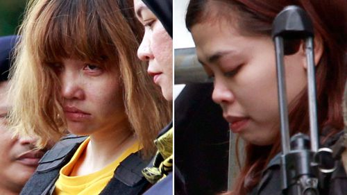 Siti Aisyah and Doan Thi Huong are accused of killing Mr Kim with VX nerve agent. (AAP)