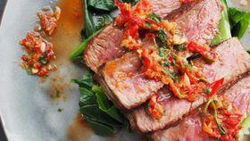 Angus sirloin, asian greens and nam jim sauce