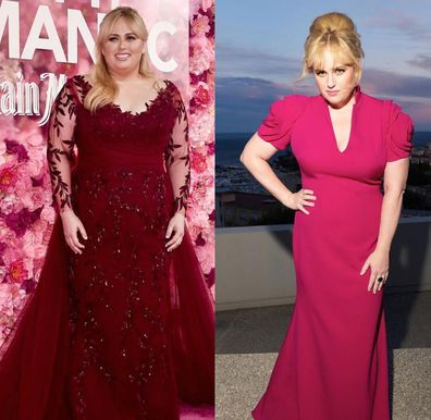 Rebel Wilson pictured in 2019 at 'Isn't it Romantic' premiere, and in 2020 after weight loss at the Nouveau Musée National Monaco Miro exhibition