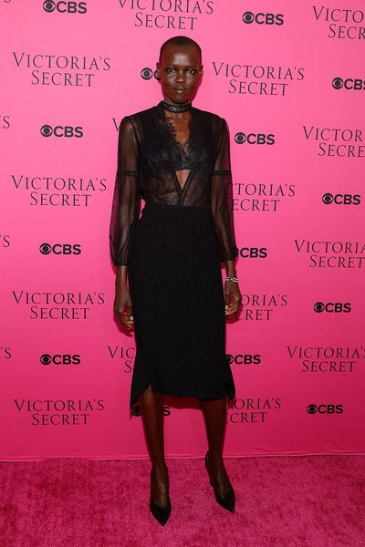 Grace Bol in Roland Mouretat the Victoria's Secret viewing party in New York.