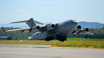 An RAAF C-17 takes off bound for Nepal. (Royal Australian Air Force)