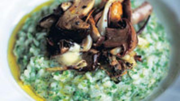 Risotto Bianco (plain risotto) and mushroom risotto