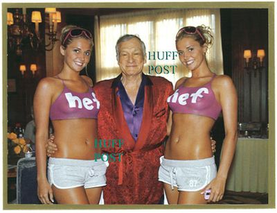 Hugh Hefner got his twins out (twin girlfriends Kristina and Karissa Shannon) for his Christmas card. Yep, those bikini tops are painted on.