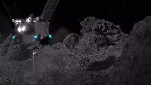 The spacecraft collected material from the surface of the asteroid Bennu.