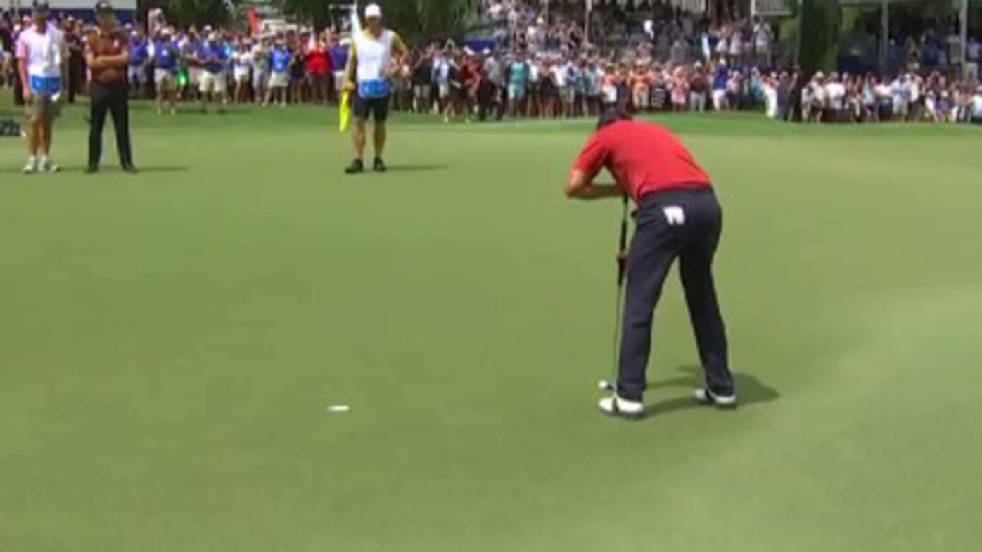 Adam Scott had this putt of just over a metre to win the Wyndham Championship.