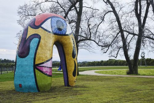 The Sculpture Park features dozens of large-scale artworks, including this eye-catching mosaic piece by Victorian Deborah Halpern. (Point Leo Estate)