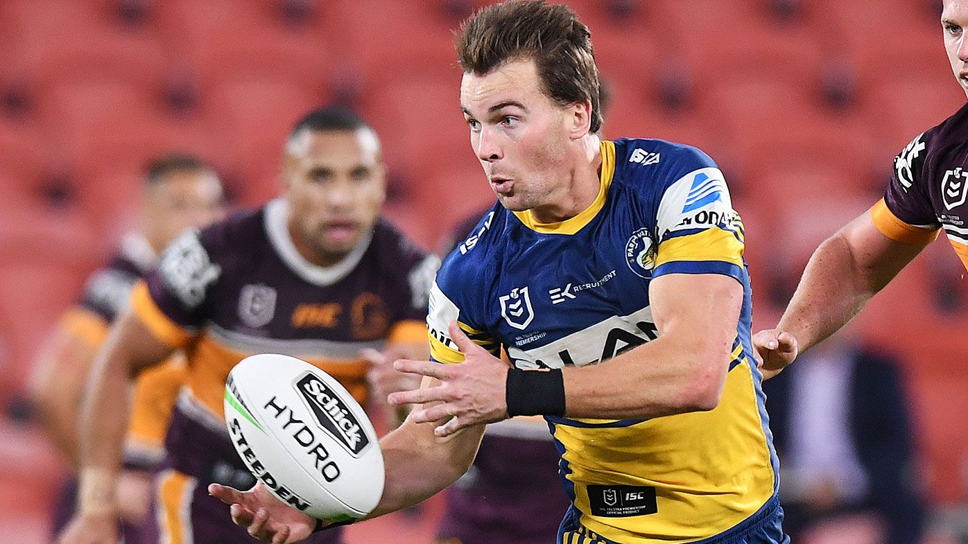 Clint Gutherson of the Eels passes during the round three NRL match