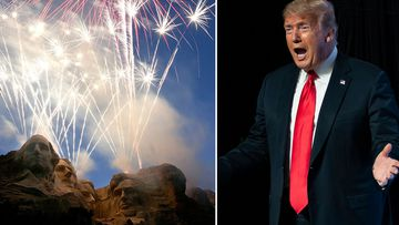 Fireworks light up the night sky over Mt. Rushmore National Memorial, S.D on Tuesday, July 3, 2007 & President Donald Trump in Phoenix