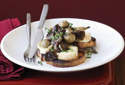 Mushroom and taleggio on bruschetta