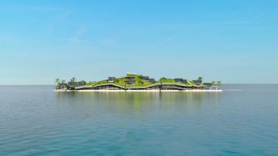 Thiel's off-shore city-state, to be build off the coast of Tahiti, will feature homes, hotels, restaurants, offices and other facilities up to three storeys high. (Blue Frontiers)