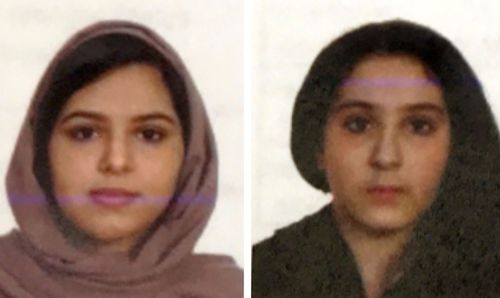 These two undated photos provided by the New York City Police Department show sisters Rotana, left, and Tala Farea, whose fully clothed bodies, bound together with tape and facing each other, were discovered on on the banks of the Hudson River.