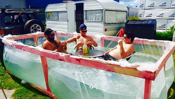 Three kiwis created a swimming pool from timber and plastic sheeting to escape the summer heat.