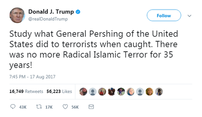He thenrevived an already debunked anecdote about a US general dipping bullets in pig's blood to fight Islamic militants more than a hundred years ago.