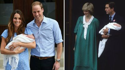 Kate Middleton with baby Prince George, 2013; Princess Diana with baby Prince William, 1982