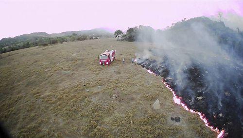 In this Aug. 20, 2019 drone photo released by the Corpo de Bombeiros de Mato Grosso, brush fires burn in Guaranta do Norte municipality, Mato Grosso state, Brazil. (Corpo de Bombeiros de Mato Grosso via AP)