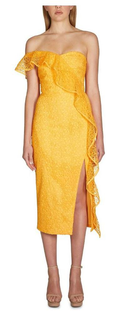 "<p><a href=""https://www.rebeccavallance.com/baha-strapless-midi-dress"" target=""_blank"">Rebecca Vallance Baha Strapless Midi Dress, $799</a></p> <p> </p>"