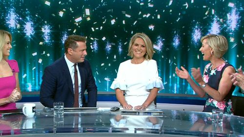 Deb Knight applauds as Georgie Gardner returns to the TODAY Show desk this morning.