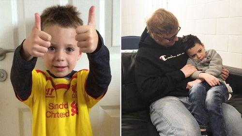 Ed Sheeran surprises dying young fan with a cuddle