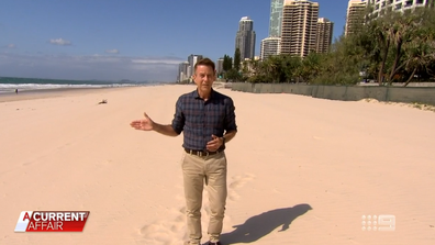 Beaches in the Gold Coast are now deserted.