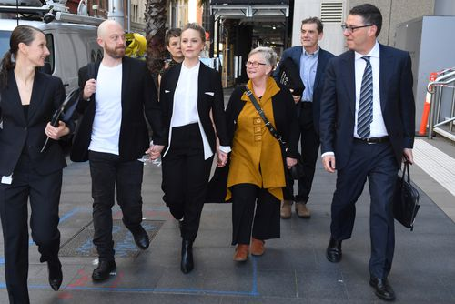 Eryn Jean Norvill (centre) is giving evidence in the defamation case between Geoffrey Rush and Nationwide News.
