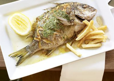 "<a href=""http://kitchen.nine.com.au/2016/05/17/14/23/whole-sea-bream-with-herb-butter"" target=""_top"">Neil Perry's whole sea bream with herb butter and hand-cut chips</a>"