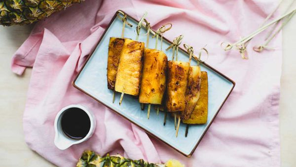 Caramelised cinnamon and lime pineapple skewers