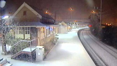 Snow is falling heavy at Katoomba in the Blue Mountains. Picture: Sydney Trains.