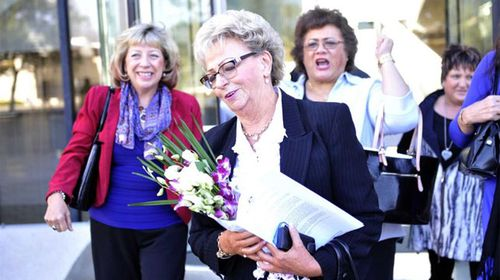 Roseanne Beckett leaves the High Court in Canberra in 2013 two decades after she was convicted for murdering her ex-husband. (AAP)