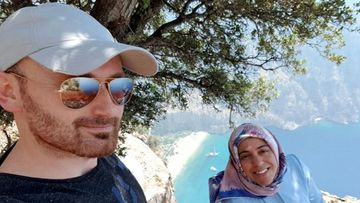 Hakan Aysal is accused of pushing his wife off a cliff moments after this photo was taken.