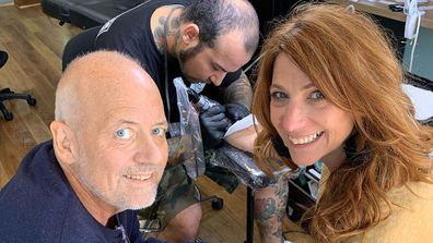 Triple M star Robin Bailey getting her husband Sean Pickwell's heartbeat tattooed on her.
