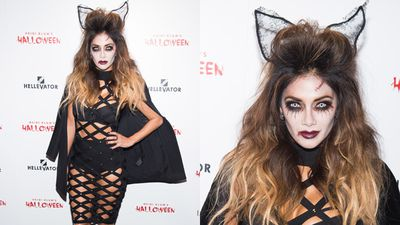 Nicole Scherzinger donned scary white contacts for the event. (AAP)