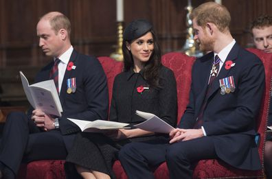 Meghan Markle, Prince Harry and Prince William at the 2018 ANZAC Day Service