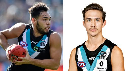 Port Adelaide players Jarman Impey and Aidyn Johnson fined $5k and banned from Round One