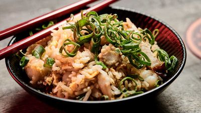 "Recipe: <a href=""http://kitchen.nine.com.au/2017/10/18/08/29/china-diners-famous-fried-rice-with-sweet-lup-cheong-pork-sausage"" target=""_top"">China Diner's famous fried rice with prawn, egg and sweet lup cheong pork sausage</a>"