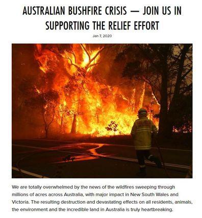 Metallica, bushfrie, post, donation, australia