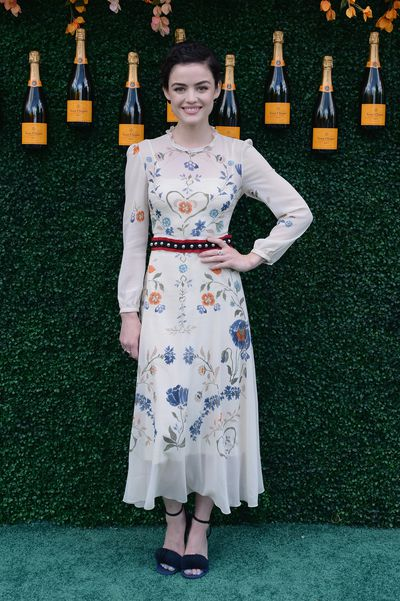 Actress Lucy Hale in Red Valentino at the Veuve Clicquot Polo Classic in New York.