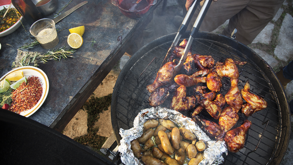 Chicken barbecued over a coal barbecue