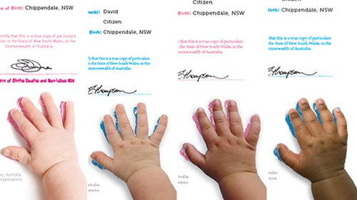 The four new handprint colours are part of the commemorative selection. Image: NSW Registry of Births, Deaths and Marriages