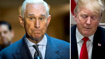 Roger Stone (left) and US President Donald Trump.