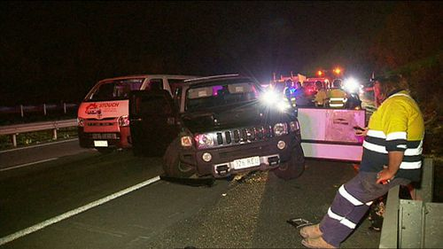 The male driver then exited the car and attempted to hijack a nearby vehicle before fleeing into nearby bushland with a woman.