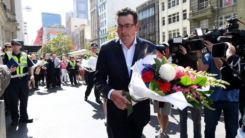 Victorian Premier Daniel Andrews was among many who laid tributes to victims of yesterday's Bourke Street Mall attack. (AAP)