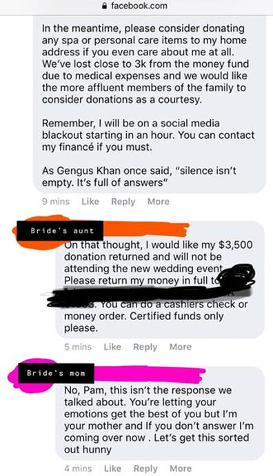 Bride cancels wedding after donations of AU $43,000 reddit thread 11