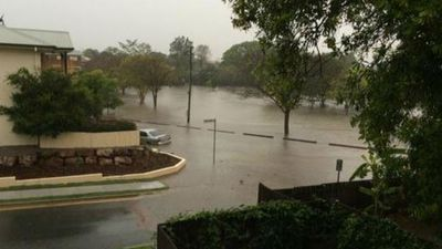 Wooloongabba Rotary Park is under water. (Supplied, Thibaut Allender)