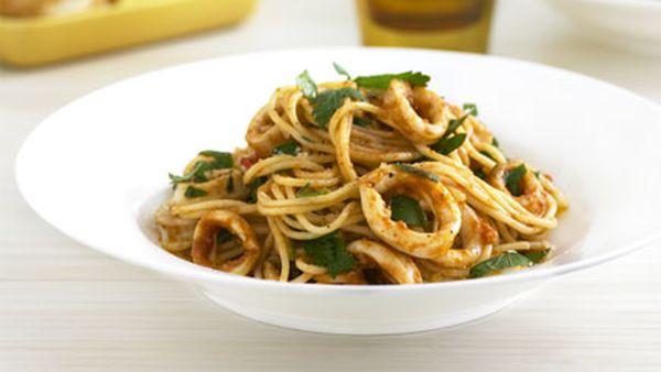 Calamari, chilli and garlic spaghettini