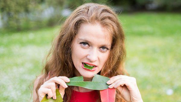 Vegan eating leaves